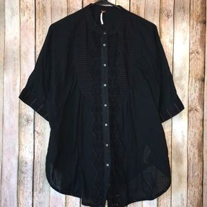 Free People Oversized Lace Classic Button Up Shirt